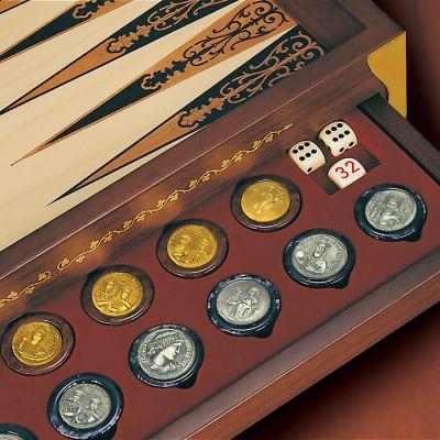 Το Τάβλι των Βυζαντινών Αυτοκρατόρων, Πούλια με αλαβάστρινη βάση και νομίσματα από ασήμι 925° και ασήμι 925° με επιχρύσωση 24Κ (vermeil).