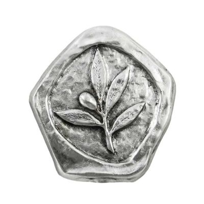 Olive Branch, Paper Weight depicting an olive branch with an olive, made of silver-plated brass.