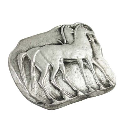 Horses, Paper Weight, Brass, plated in silver solution 999°.