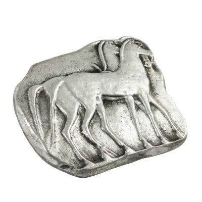 Άλογα, Πρες Παπιέ, Ορείχαλκος, επαργυρωμένος σε διάλυμα ασημιού 999°.