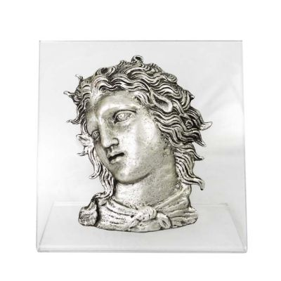 Alexander the Great, Bust, Silver-plated Copper, mounted on an acrylic back (plexiglass).