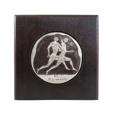 Stadion Race, Olympic Games, Copper plaque with patina, plated in silver solution 999° and mounted on wooden frame.