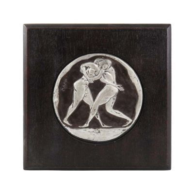 Wrestling, Olympic Games, Silver-plated, Copper plaque with patina, plated in silver solution 999° and mounted on wooden frame.