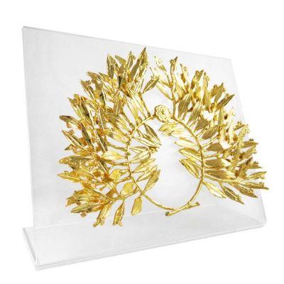 Myrtle Tree Wreath, Gold-plated 24K brass on acrylic back (plexiglass).