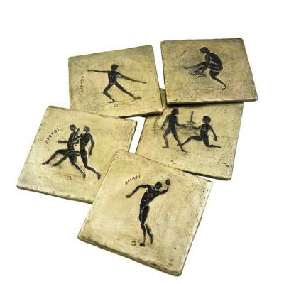 Olympic Games collection of coasters, made of recycled aluminum with patina of the drawings of the sports.