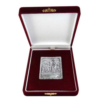 Resurrection, Kykkos, Silver 999°, icon in burgundy velvet case