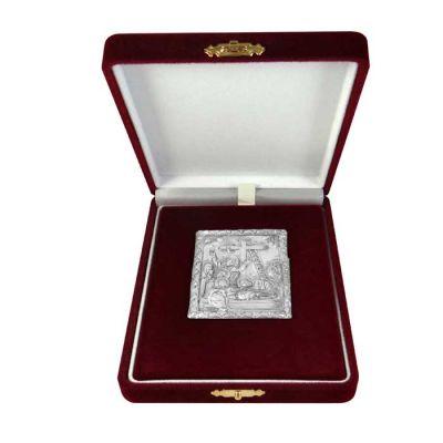 Deposition of Jesus Christ, Silver 999°, icon in burgundy velvet case