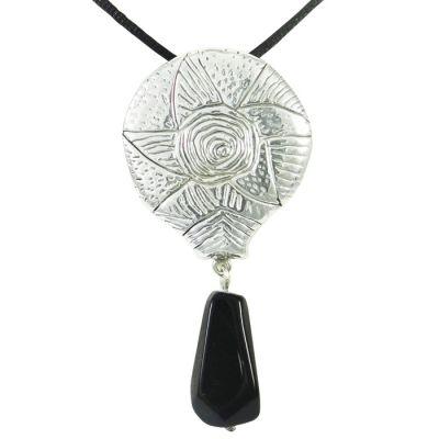 Κυκλαδικό Αστέρι σε ασήμι 999° με πέτρα Οψιδιανό και σατέν μαύρο κορδόνι