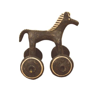 Small horse with wheels, handmade plaster, toy from Ancient Greece