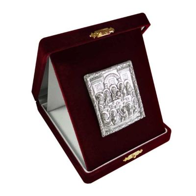 The Last Supper, Silver 999°, icon in burgundy velvet case