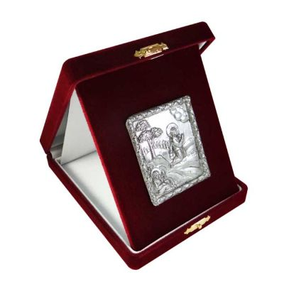 Jesus Christ praying at Gethsemane, Kykkos, Silver 999°, icon in burgundy velvet case