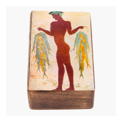 Fisherman fresco from Akrotiri in Santorini, wooden box