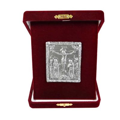 Crucifixion, Silver 999°, icon in burgundy velvet case