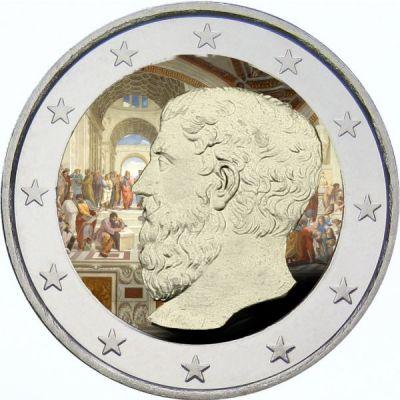 Academy of Plato, Greece, Commemorative Coloured & Enameled Coin