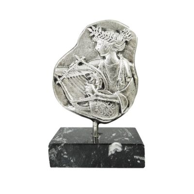 Apollo with his Lyre, Handmade Relief Representation, Silver-plated Brass.