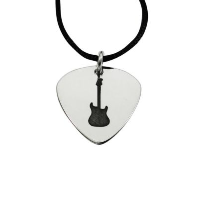 Silver guitar pick with your engraving - Solid Silver Plectrum