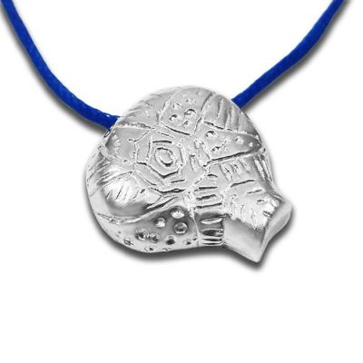 Cycladic Star, Kid's Pendant in Solid Silver 925° with blue cord