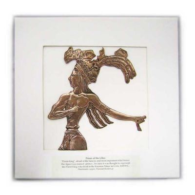 The Prince of Lillies, Knossos, Copy in shiny copper in a white wooden frame with glass