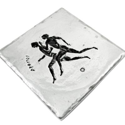 Stadion Race, Olympic Games, Recycled Aluminum with patina on the depiction of the sport.