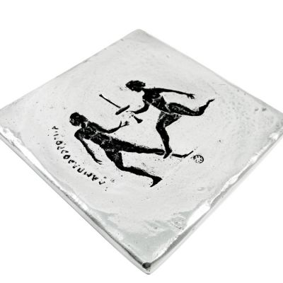 Torch Relay, Olympic Games, Coaster, Recycled Aluminum with patina on the depiction of the sport.