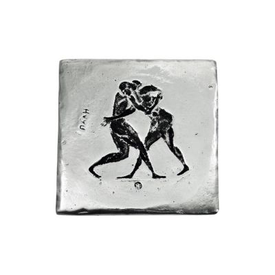 Wrestling, Olympic Games, Coaster, made of recycled aluminum with patina of the sport.