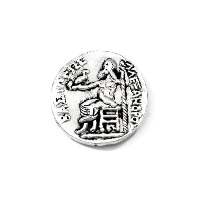 Silver Tetradrachm coin of Alexander III Macedon. Handmade solid brass silver-plated in a specially designed acrylic case to exhibit both sides of the coin.