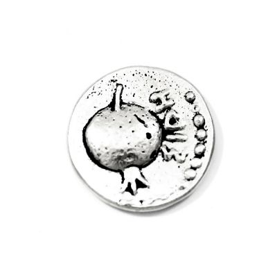 Side,Silver Stater of Pamphylia coin replicca. Handmade copy in silver-plated brass placed in a specially designed acrylic stand.