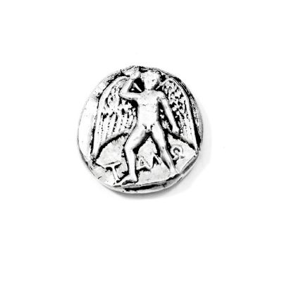 Silver Stater of Phaistos, Crete. Handmade copy in solid brass silver-plated in silver solution 999°, placed in a specially designed acrylic case to exhibit both sides of the coin.