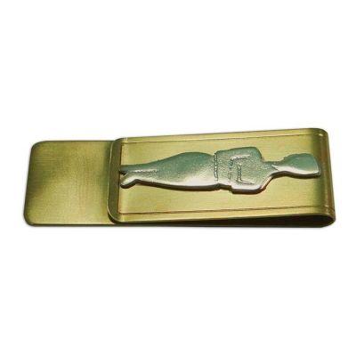 Cycladic Figurine Money Clip, Handmade brass money clip with brass silver-plated figurine