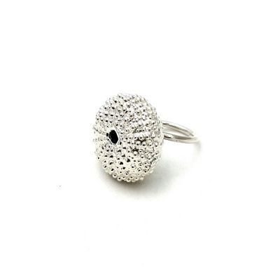 Sea Urchin Silver Ring, handmade silver 999°, natural urchin copy