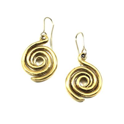 Spiral Gold-plated Earrings, handmade museum copy in solid brass gold-plated 24K nickel free.