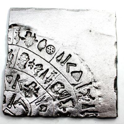 Phaistos Disc, handmade recylced aluminum coaster.