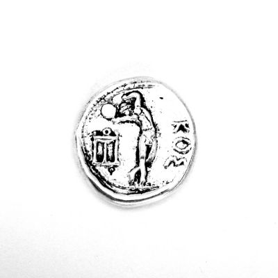 Silver Two-Drachma coin of Kos, handmade copyin solid brass silver-plated, in specially designed acrylic case.