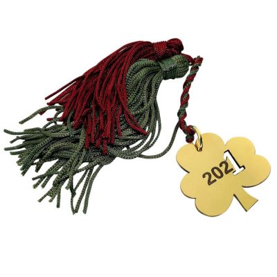 Lucky clove 2021 charm in handmade solid brass with a tassel.