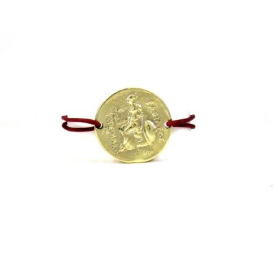 Alexander the Great Brass Bracelet. Goddess Athena with Victory. The cord is adjustable to fit all wrists with its special tying.