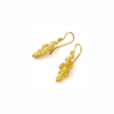 Oak Leaf Earrings II, Gold-plated 24K brass. Handmade hook of silver 925° gold-plated NICKEL FREE.