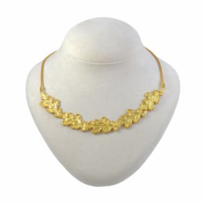 Oak Leaf Necklace 24K gold-plated brass. Handmade NICKEL FREE.