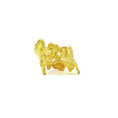 Oak Leaf Ring, Gold-plated 24K, Handmade solid brass (bronze)