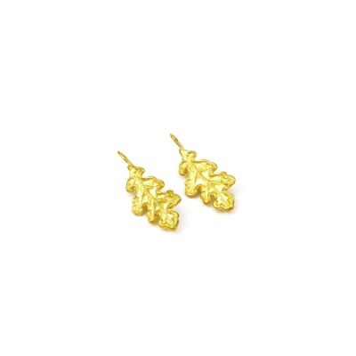Oak Leaf Earrings 24K gold-plated brass. Handmade hook of silver 925° gold-plated NICKEL FREE.