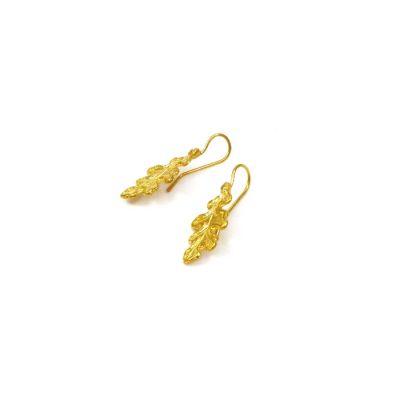 Oak Leaf Earrings 24K gold-plated brass. Handmade hook of silver 925° gold-plated NICKEL FREE.