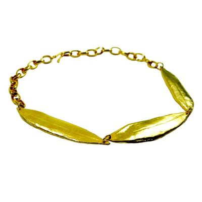 Olive Leaves Necklace, Gold-plated 24K handmade