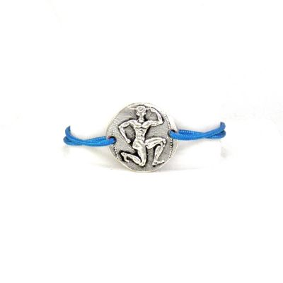 Minotaur Silver Bracelet, handmade in solid silver, with an adjustable cord to fit all wrists with its special tying.