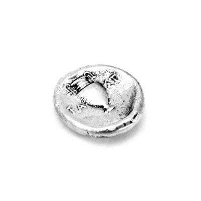 Silver Stater of Thebes. Hanmade solid brass silver-plated in 999° silver solution placed in an acrylic case.