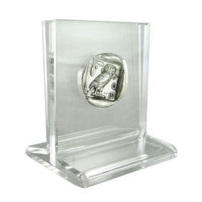 Sample of specially designed acrylic case to exhibit both sides of the coin (indicative photo).