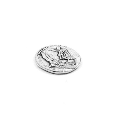Silver Tetradrachm Coin King Dimitriou (Goddess Victory on a boat's bow). Handmade casted brass silver-plated copy in acrylic case to exhibit both sides of coin.