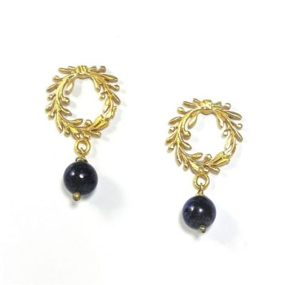 Olive Wreath earrings gold-plated 24k free nickel. Handmade in solild brass with silver earpin. Blue lapis stone.