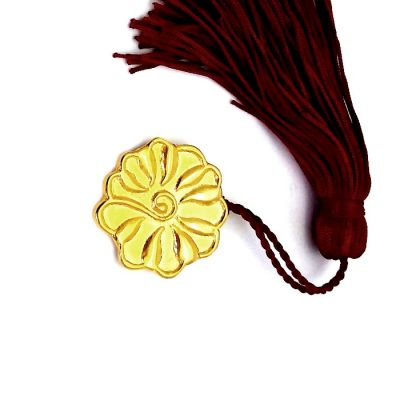 Rosette Gold-plated 24K Charm 2019, Kamares, Crete, handmade solid brass gold-plated 24K with tassel and gift packaging