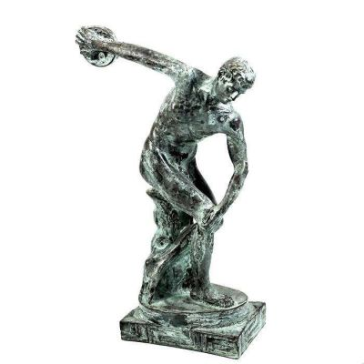 Discobolus of Myron, Statue handmade casted alabaster, coated with copper with natural oxidation (green patina).