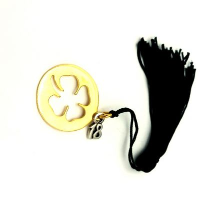 Clover charm, gold-plated 24k brass