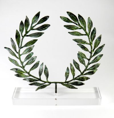 Olive Wreath II, Brass with green patina, mounted on an acrylic base (plexi-glass).